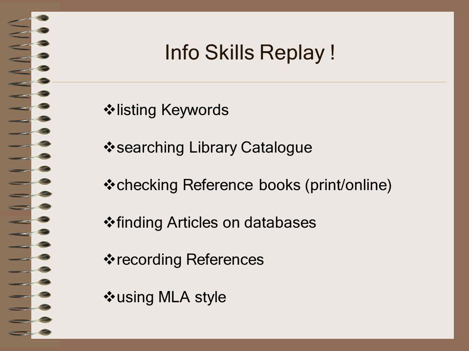 Info Skills Replay .