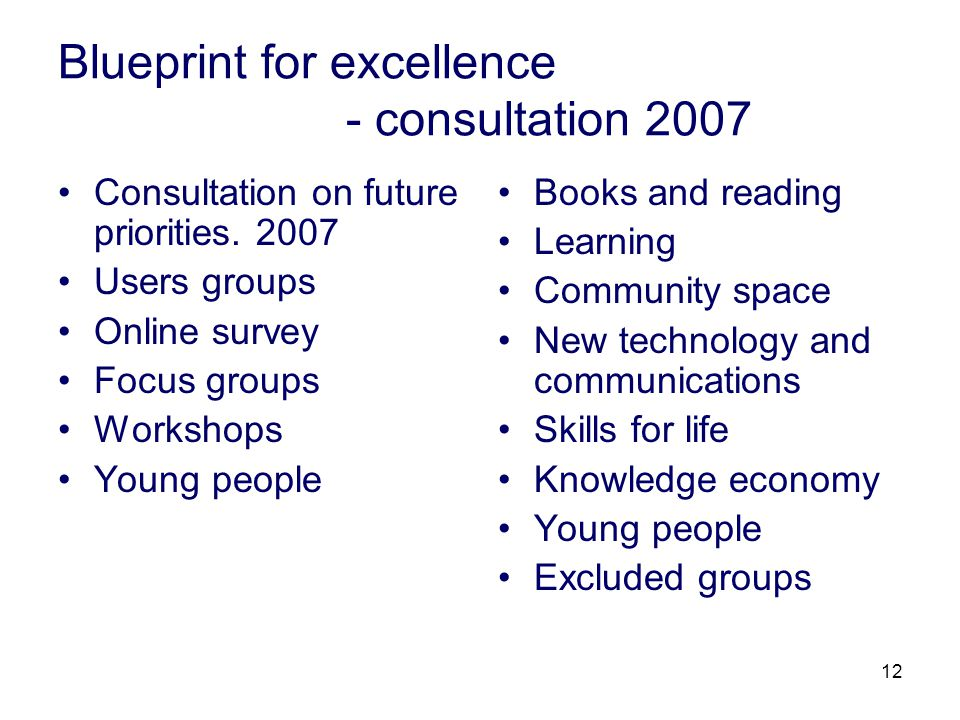 12 Blueprint for excellence - consultation 2007 Consultation on future priorities. 2007 Users groups Online survey Focus groups Workshops Young people