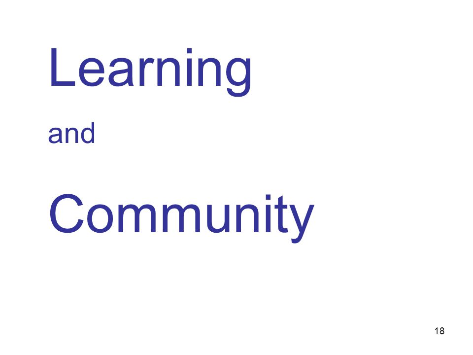 18 Learning and Community