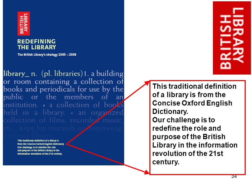 34 This traditional definition of a library is from the Concise Oxford English Dictionary.