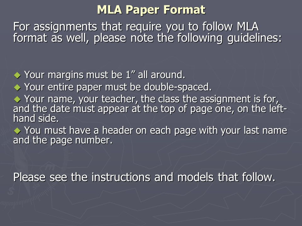 "MLA Paper Format For assignments that require you to follow MLA format as well, please note the following guidelines:  Your margins must be 1"" all ar"