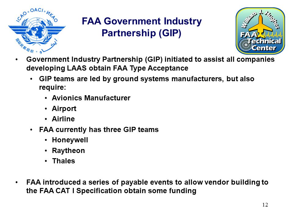 12 FAA Government Industry Partnership (GIP) Government Industry Partnership (GIP) initiated to assist all companies developing LAAS obtain FAA Type Acceptance GIP teams are led by ground systems manufacturers, but also require: Avionics Manufacturer Airport Airline FAA currently has three GIP teams Honeywell Raytheon Thales FAA introduced a series of payable events to allow vendor building to the FAA CAT I Specification obtain some funding