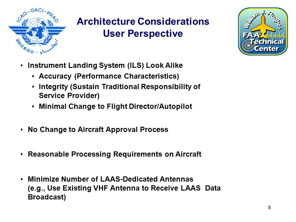 8 Architecture Considerations User Perspective Instrument Landing System (ILS) Look Alike Accuracy (Performance Characteristics) Integrity (Sustain Traditional Responsibility of Service Provider) Minimal Change to Flight Director/Autopilot No Change to Aircraft Approval Process Reasonable Processing Requirements on Aircraft Minimize Number of LAAS-Dedicated Antennas (e.g., Use Existing VHF Antenna to Receive LAAS Data Broadcast)