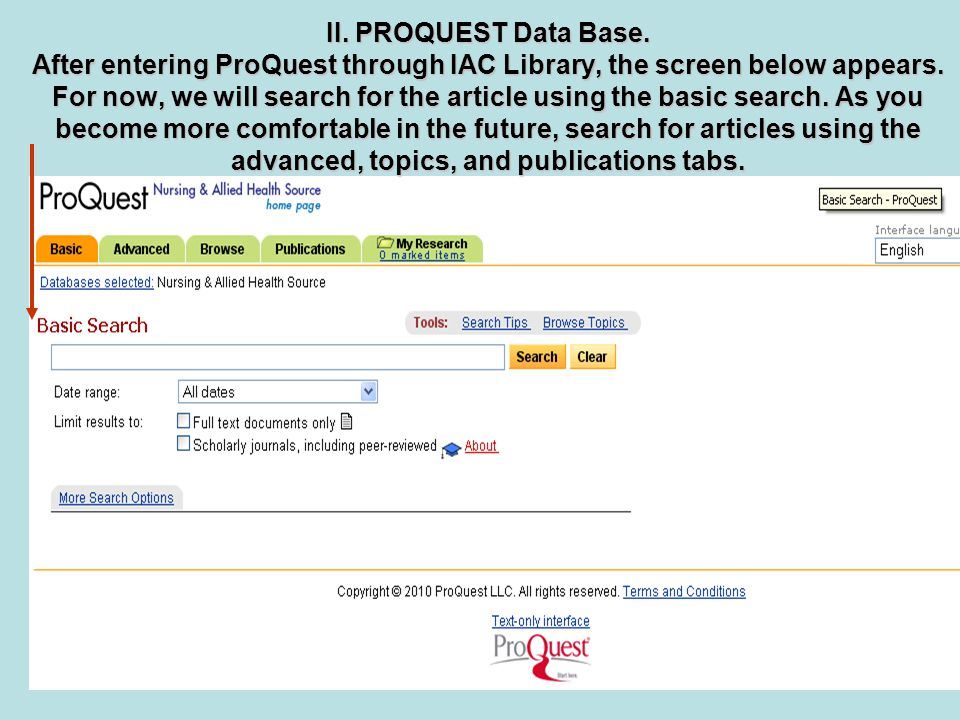 II. PROQUEST Data Base. After entering ProQuest through IAC Library, the screen below appears.