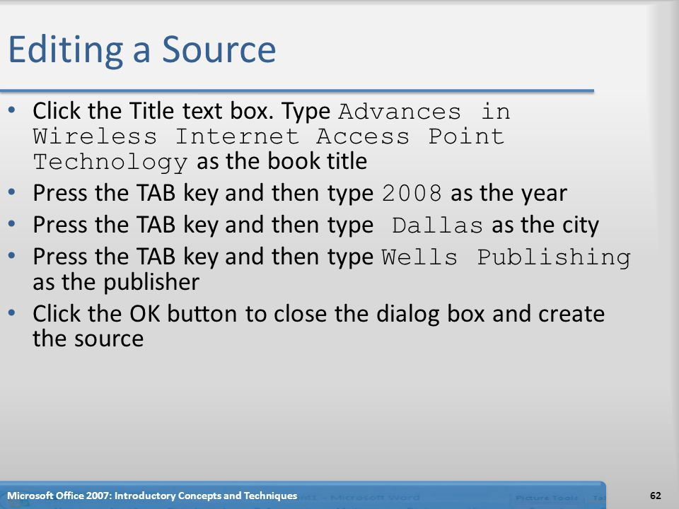 Editing a Source Click the Title text box.