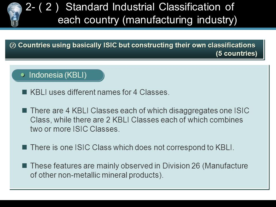 ● ● Indonesia (KBLI) KBLI uses different names for 4 Classes.