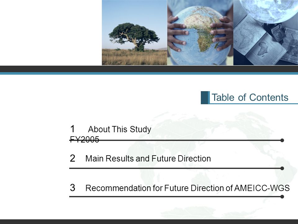 Table of Contents 1 About This Study FY2005 2 Main Results and Future Direction 3 Recommendation for Future Direction of AMEICC-WGS