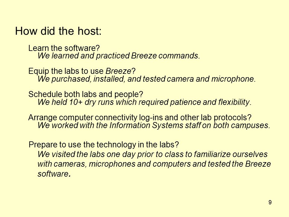 9 How did the host: Learn the software. We learned and practiced Breeze commands.