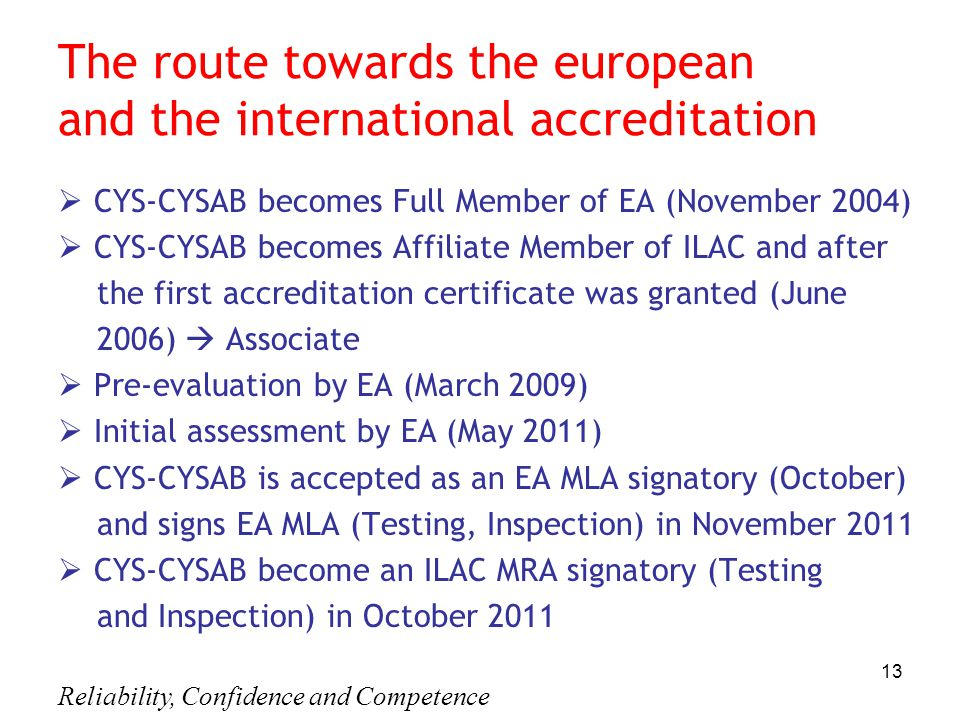 Reliability, Confidence and Competence 13 The route towards the european and the international accreditation  CYS-CYSAB becomes Full Member of EA (Νο