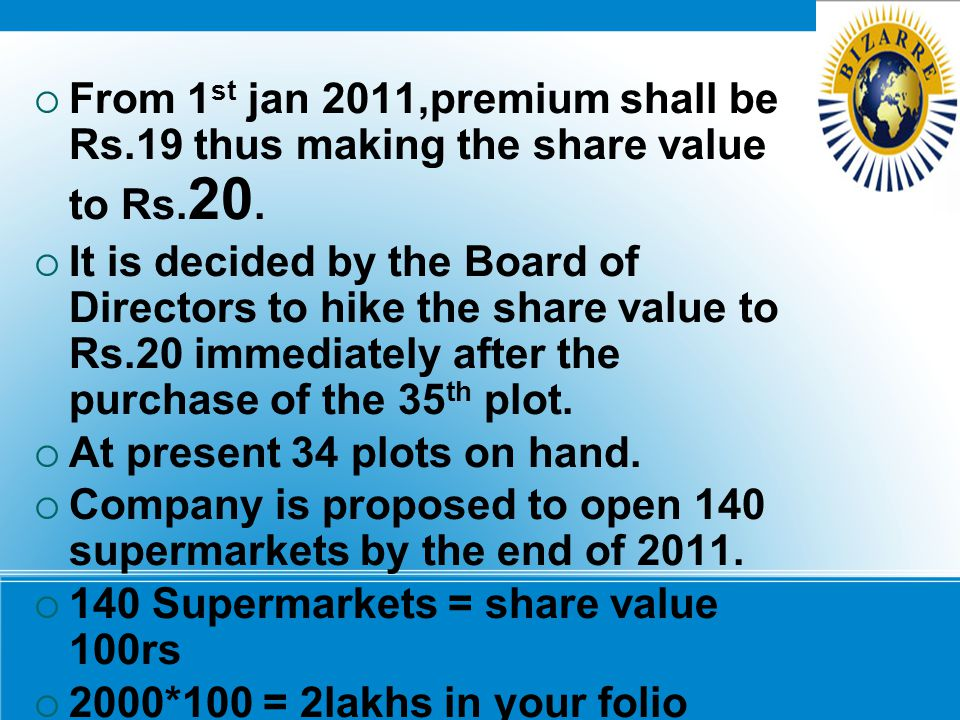 FFrom 1 st jan 2011,premium shall be Rs.19 thus making the share value to Rs. 20. IIt is decided by the Board of Directors to hike the share value