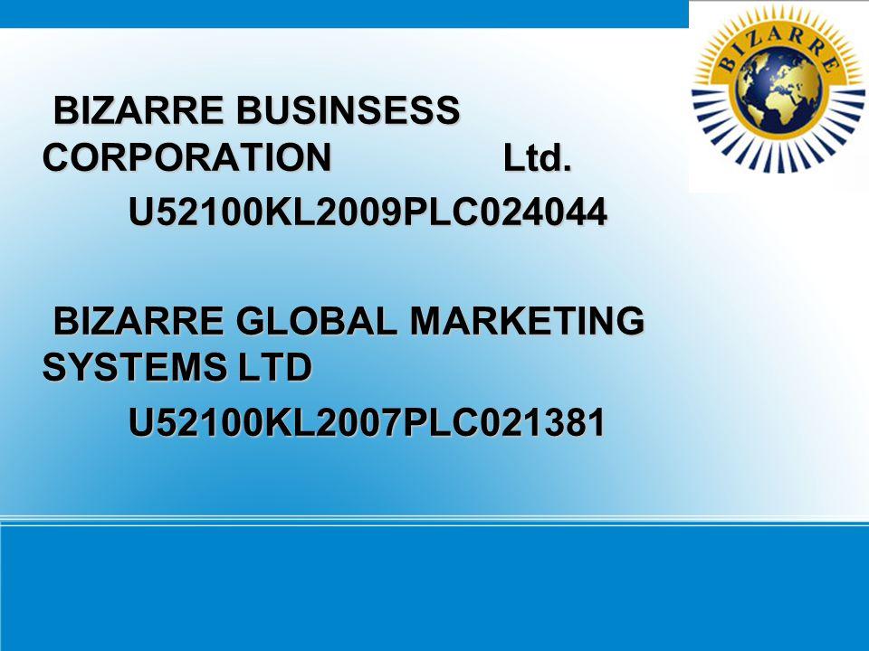 BIZARRE BUSINSESS CORPORATION Ltd. BIZARRE BUSINSESS CORPORATION Ltd. U52100KL2009PLC024044 U52100KL2009PLC024044 BIZARRE GLOBAL MARKETING SYSTEMS LTD