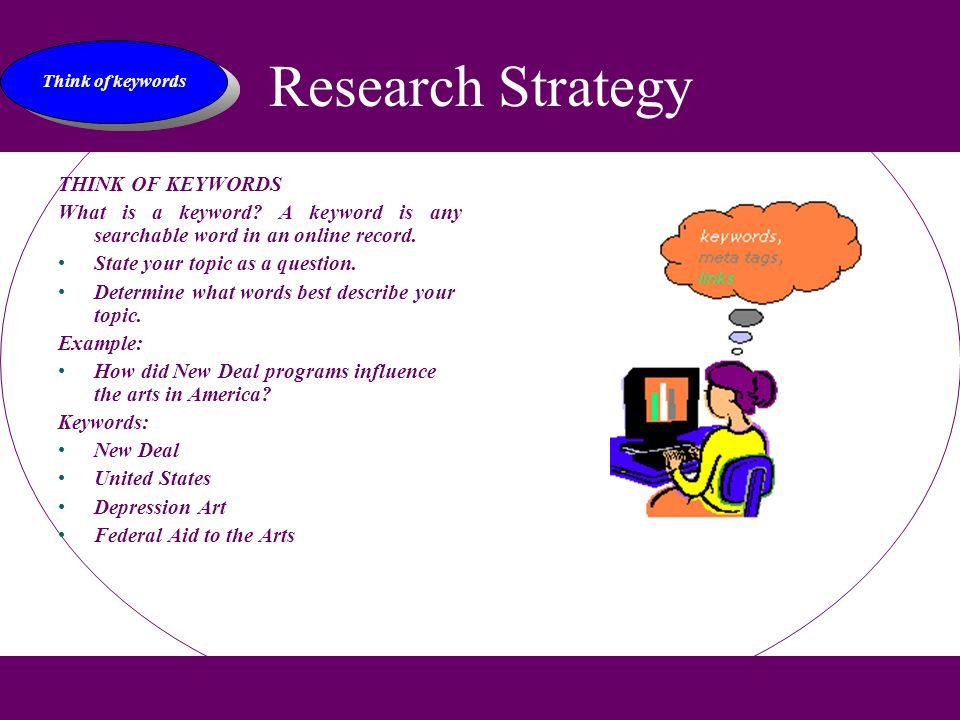 Research Strategy THINK OF KEYWORDS What is a keyword.
