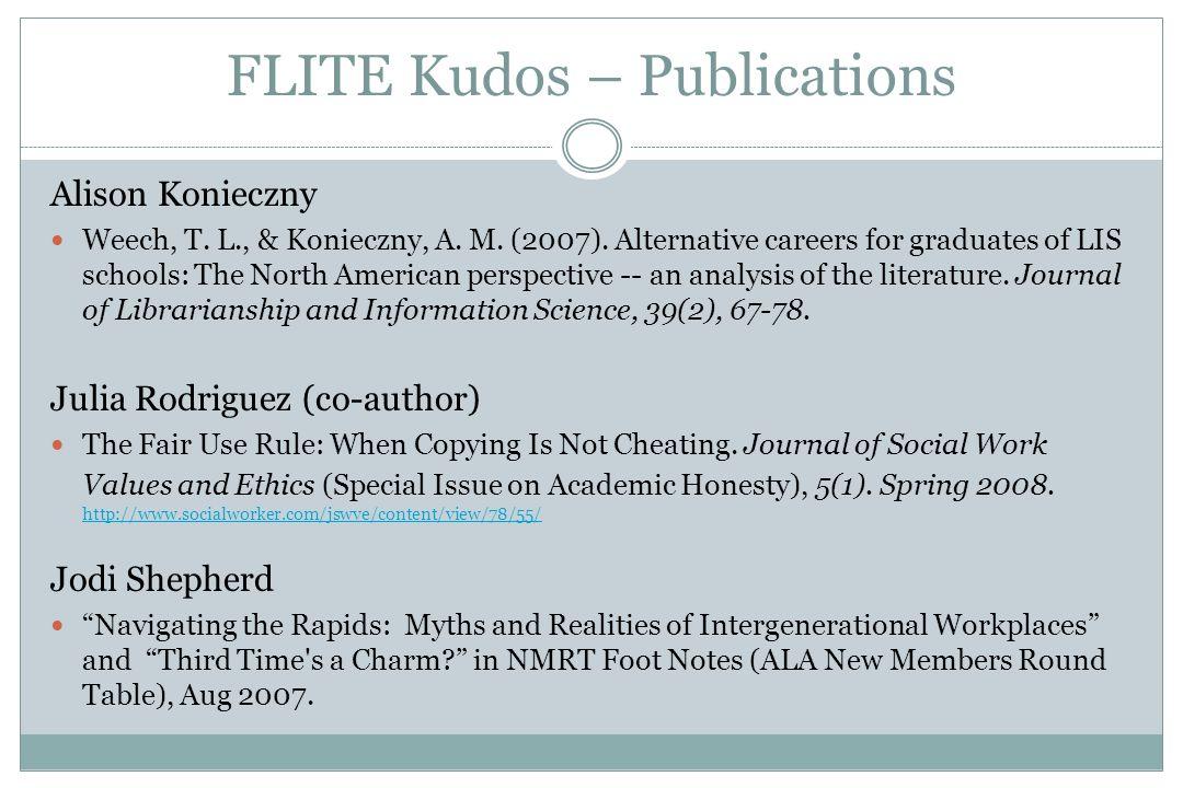 FLITE Kudos – Publications Alison Konieczny Weech, T.