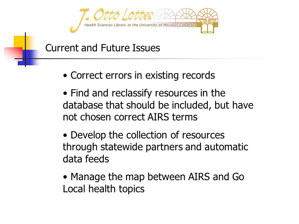 Correct errors in existing records Find and reclassify resources in the database that should be included, but have not chosen correct AIRS terms Devel