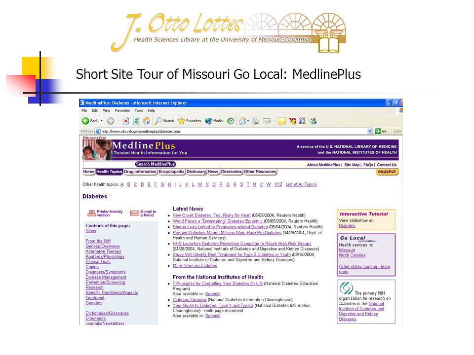 Short Site Tour of Missouri Go Local: MedlinePlus