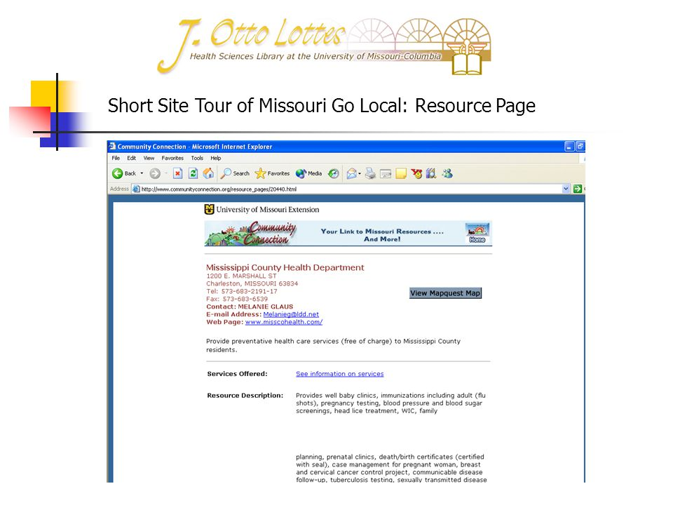 Short Site Tour of Missouri Go Local: Resource Page