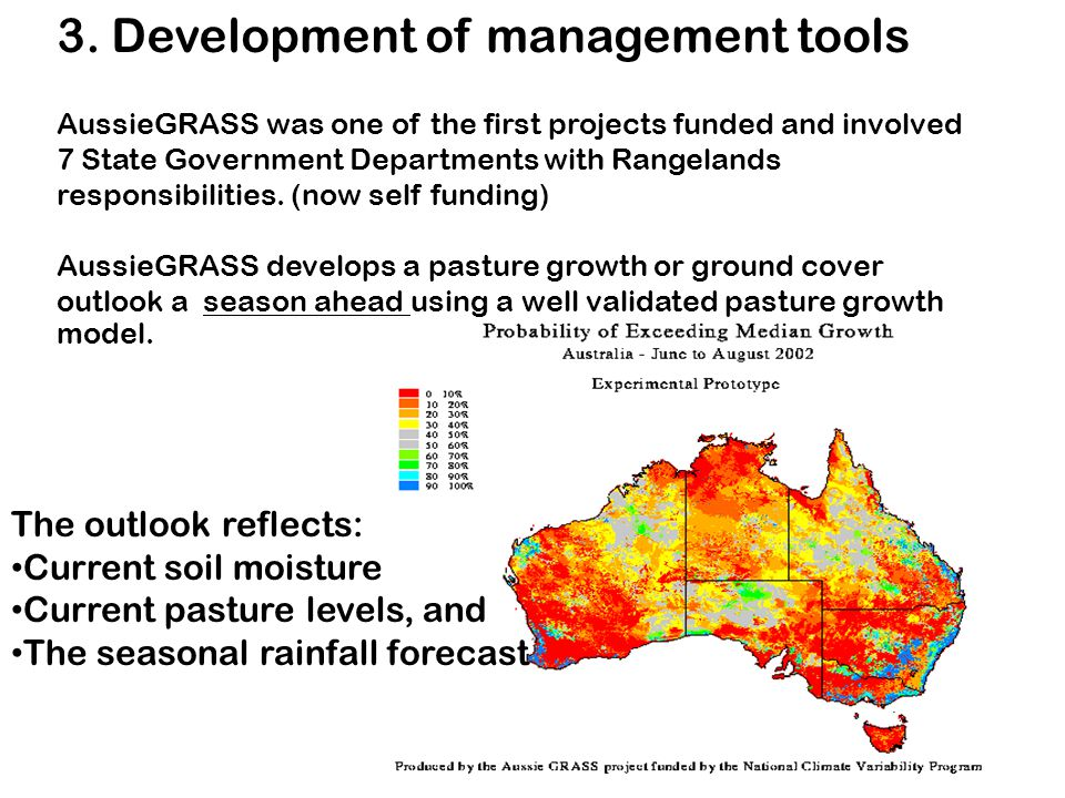 3. Development of management tools AussieGRASS was one of the first projects funded and involved 7 State Government Departments with Rangelands respon