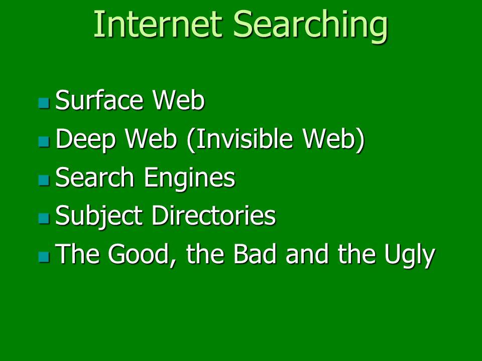 Surface Web Surface Web Deep Web (Invisible Web) Deep Web (Invisible Web) Search Engines Search Engines Subject Directories Subject Directories The Good, the Bad and the Ugly The Good, the Bad and the Ugly