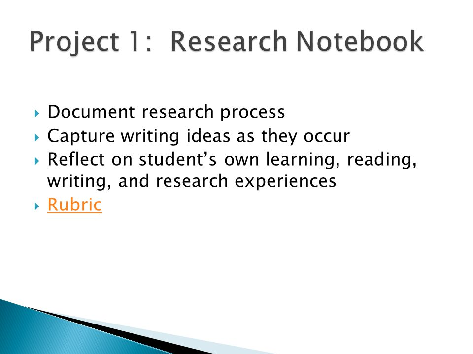  Document research process  Capture writing ideas as they occur  Reflect on student's own learning, reading, writing, and research experiences  Rubric Rubric