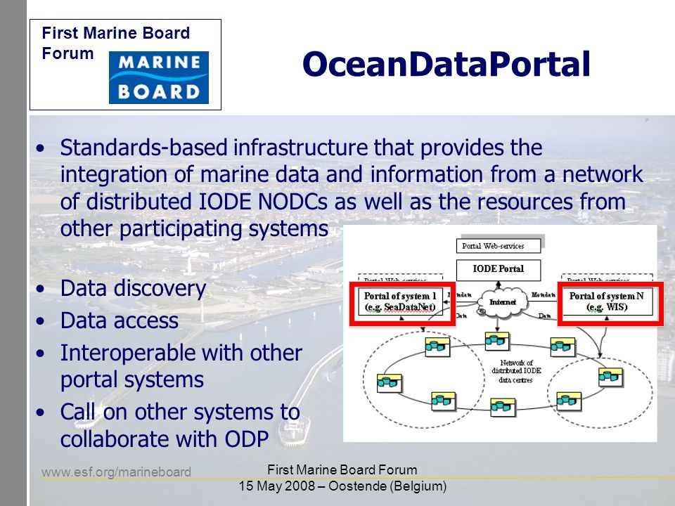 www.esf.org/marineboard First Marine Board Forum First Marine Board Forum 15 May 2008 – Oostende (Belgium) OceanDataPortal Standards-based infrastructure that provides the integration of marine data and information from a network of distributed IODE NODCs as well as the resources from other participating systems Data discovery Data access Interoperable with other portal systems Call on other systems to collaborate with ODP