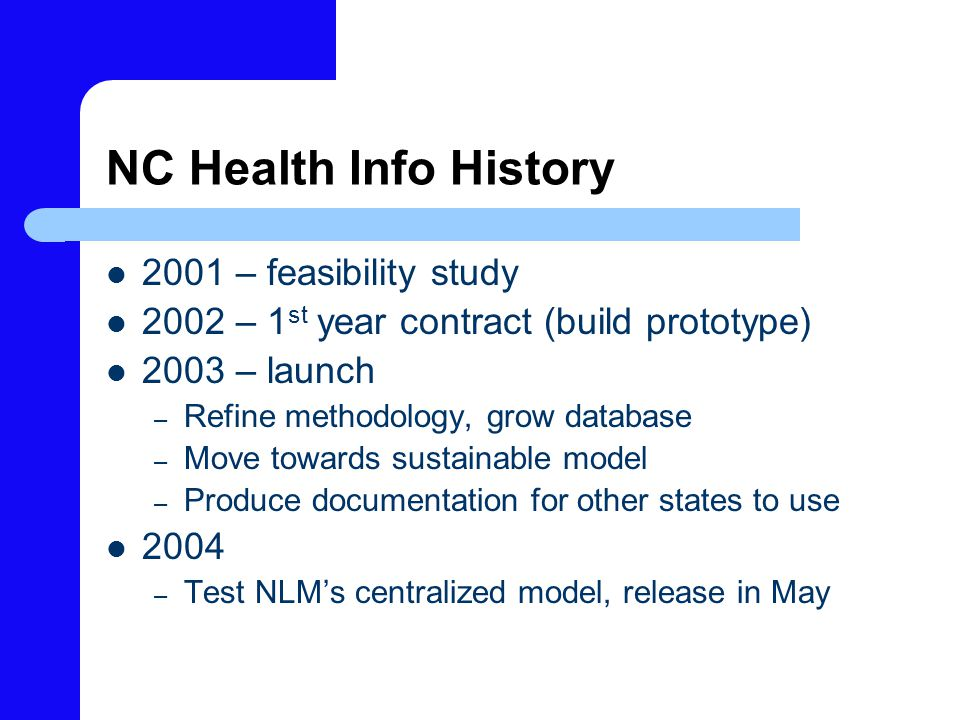 NC Health Info History 2001 – feasibility study 2002 – 1 st year contract (build prototype) 2003 – launch – Refine methodology, grow database – Move towards sustainable model – Produce documentation for other states to use 2004 – Test NLM's centralized model, release in May