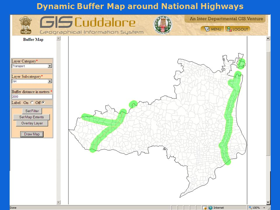 Dynamic Buffer Map around National Highways