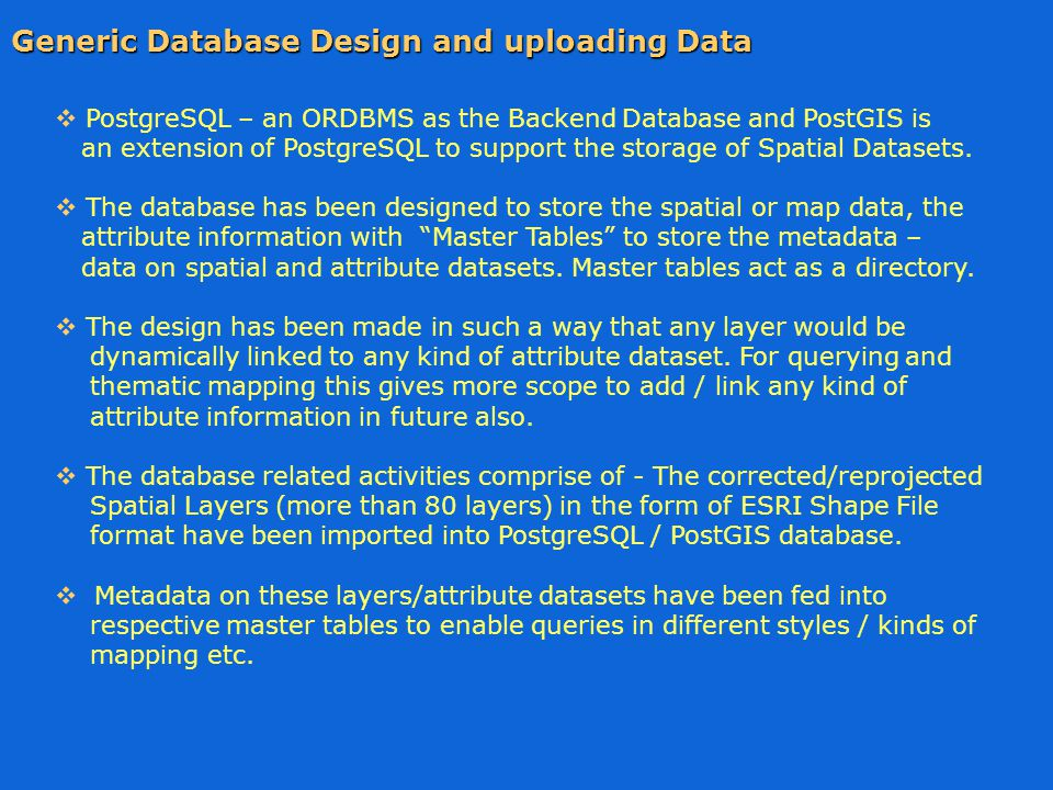  PostgreSQL – an ORDBMS as the Backend Database and PostGIS is an extension of PostgreSQL to support the storage of Spatial Datasets.