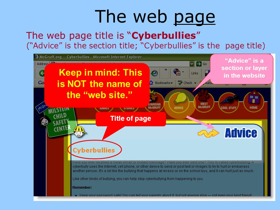 The web site You can click the Home link to find the name of the entire web site