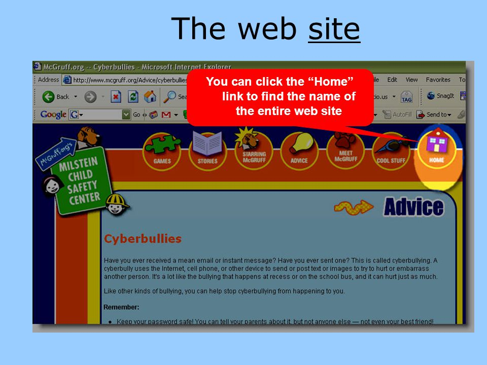 """The web site You can click the """"Home"""" link to find the name of the entire web site"""