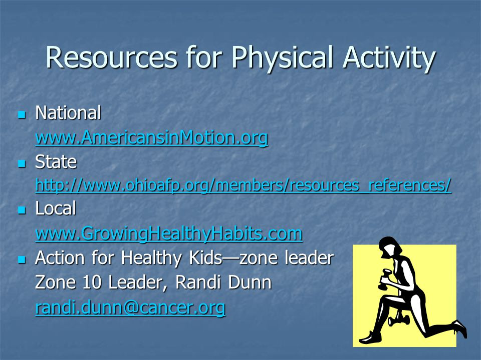 Resources for Physical Activity National National www.AmericansinMotion.org State State http://www.ohioafp.org/members/resources_references/ Local Local www.GrowingHealthyHabits.com Action for Healthy Kids—zone leader Action for Healthy Kids—zone leader Zone 10 Leader, Randi Dunn randi.dunn@cancer.org