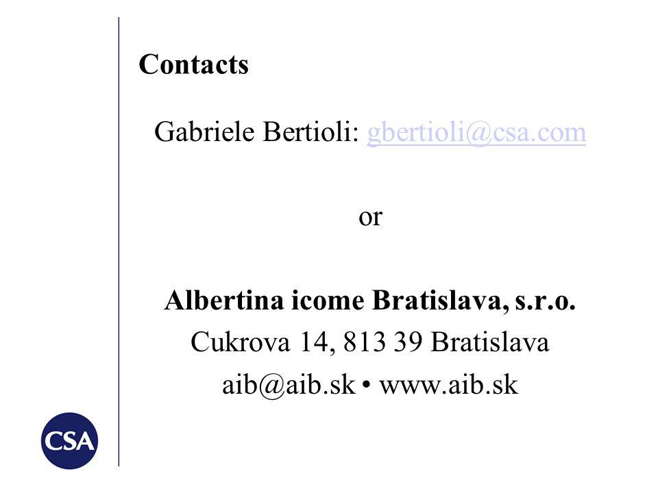 Contacts Gabriele Bertioli: gbertioli@csa.comgbertioli@csa.com or Albertina icome Bratislava, s.r.o.