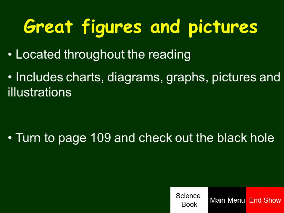 Great figures and pictures Located throughout the reading Includes charts, diagrams, graphs, pictures and illustrations Turn to page 109 and check out