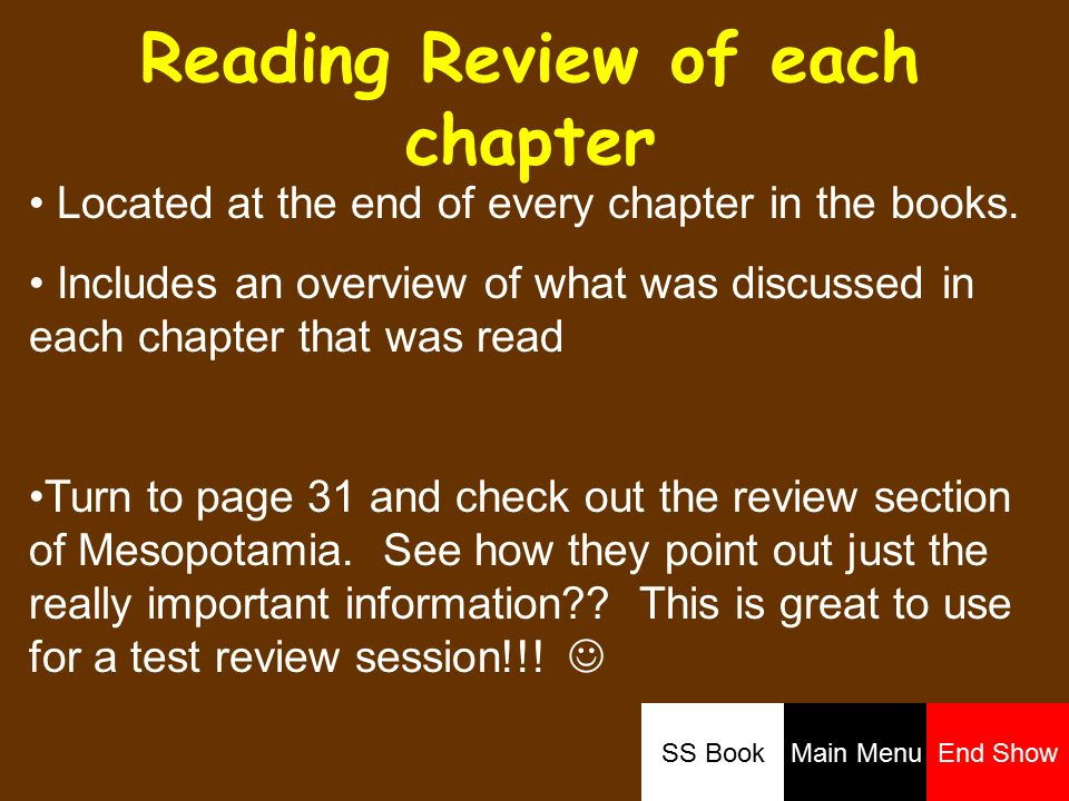 Reading Review of each chapter Located at the end of every chapter in the books.