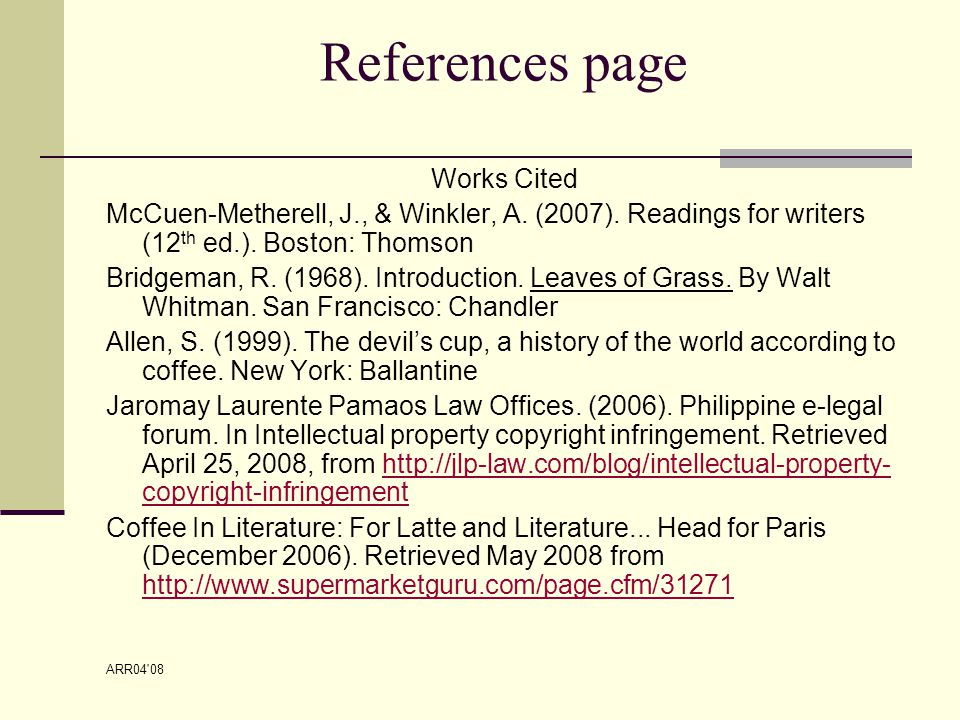 ARR04 08 References page Works Cited McCuen-Metherell, J., & Winkler, A.