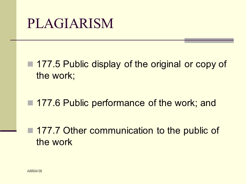 ARR04 08 EXEMPTIONS TO THE RULE Sec.184.1 Limitations on copyright.