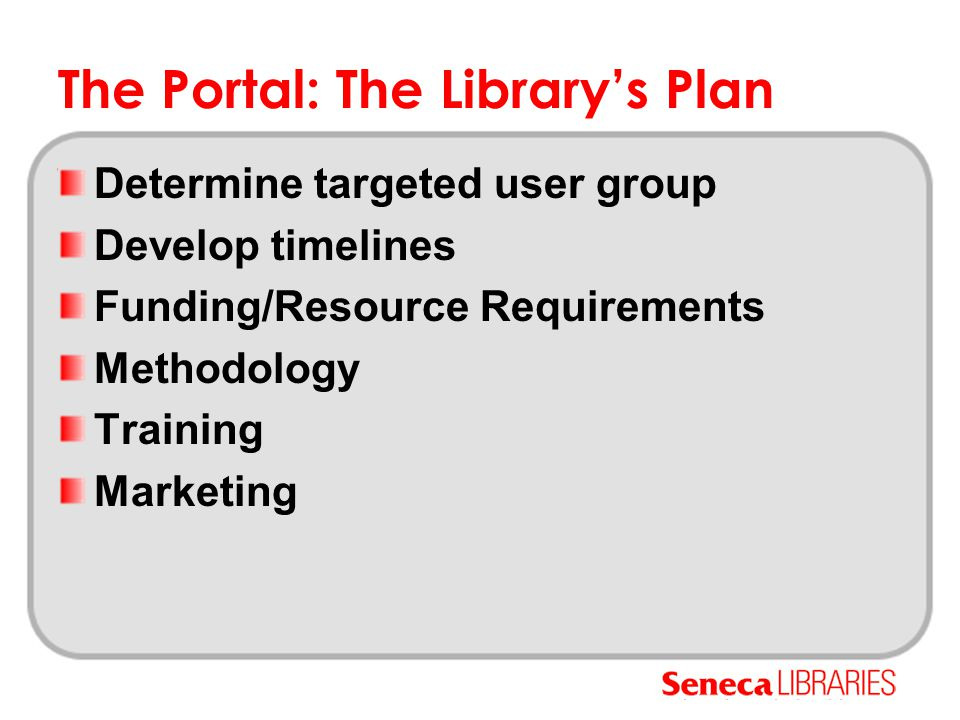 The Portal: The Library's Plan Determine targeted user group Develop timelines Funding/Resource Requirements Methodology Training Marketing
