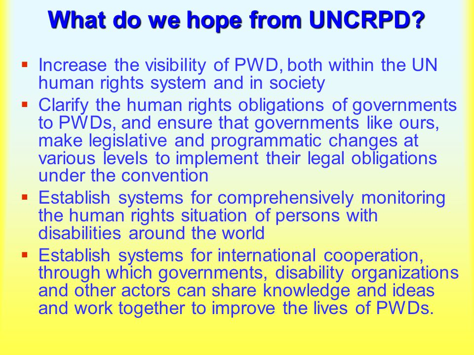 What do we hope from UNCRPD.