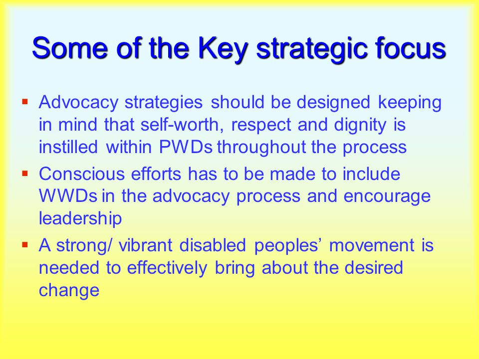 Some of the Key strategic focus  Advocacy strategies should be designed keeping in mind that self-worth, respect and dignity is instilled within PWDs throughout the process  Conscious efforts has to be made to include WWDs in the advocacy process and encourage leadership  A strong/ vibrant disabled peoples' movement is needed to effectively bring about the desired change