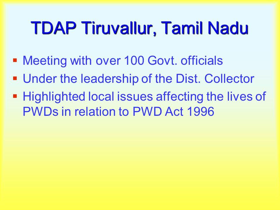 TDAP Tiruvallur, Tamil Nadu  Meeting with over 100 Govt.