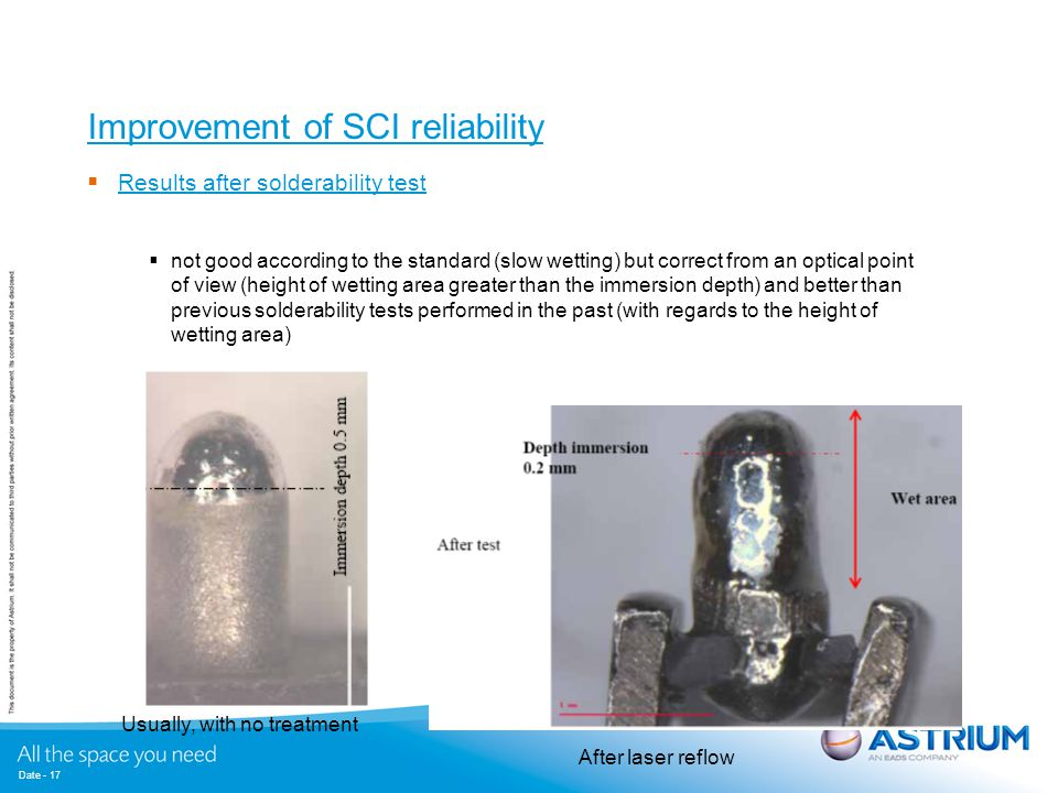 Date - 17 Improvement of SCI reliability  Results after solderability test  not good according to the standard (slow wetting) but correct from an op