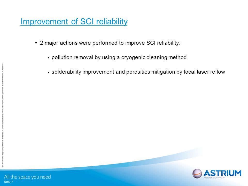 Date - 7 Improvement of SCI reliability  2 major actions were performed to improve SCI reliability:  pollution removal by using a cryogenic cleaning