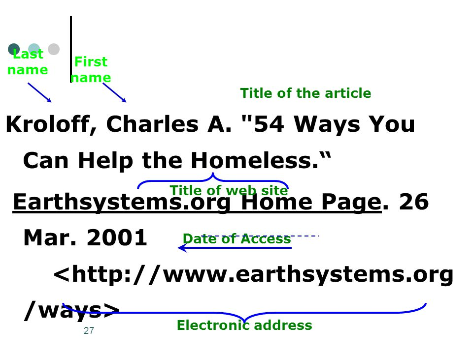 27 Kroloff, Charles A. 54 Ways You Can Help the Homeless. Earthsystems.org Home Page.