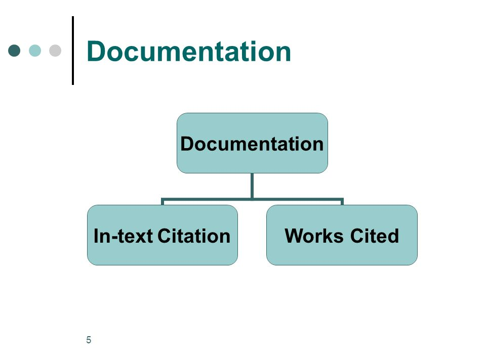 5 Documentation In-text CitationWorks Cited