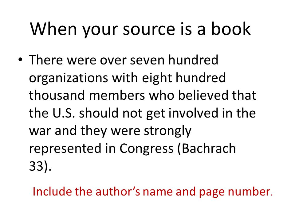 When your source is a book There were over seven hundred organizations with eight hundred thousand members who believed that the U.S.