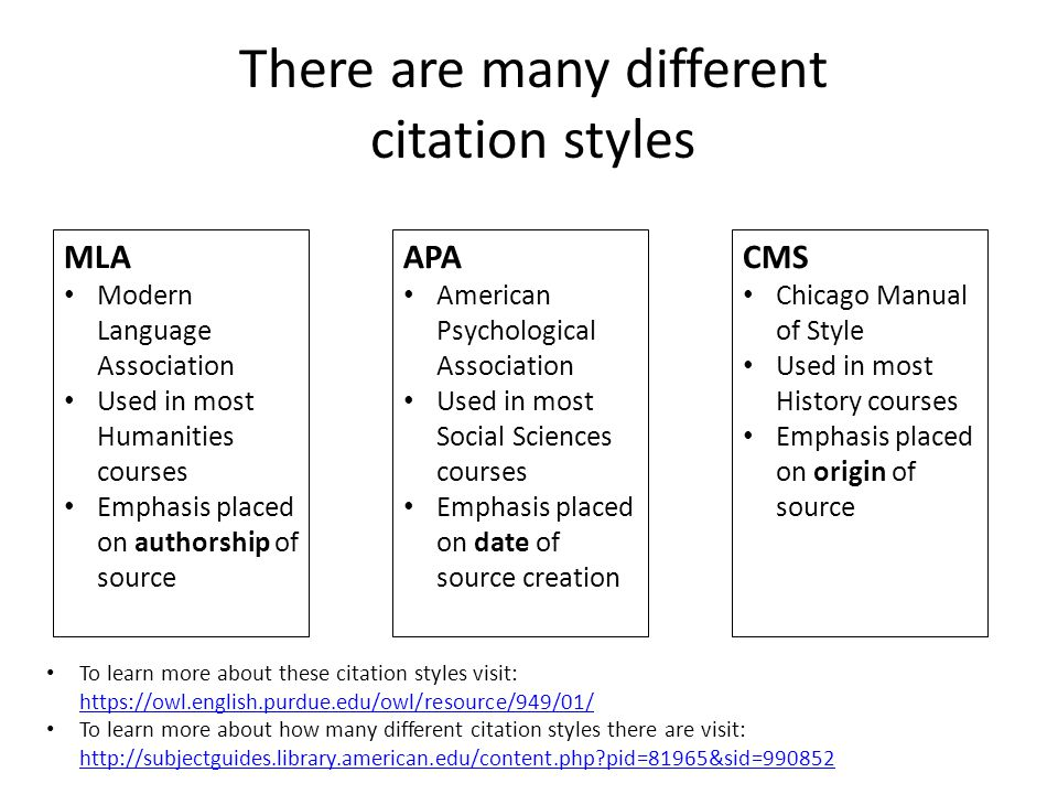 MLA Modern Language Association Used in most Humanities courses Emphasis placed on authorship of source There are many different citation styles APA American Psychological Association Used in most Social Sciences courses Emphasis placed on date of source creation CMS Chicago Manual of Style Used in most History courses Emphasis placed on origin of source To learn more about these citation styles visit: https://owl.english.purdue.edu/owl/resource/949/01/ https://owl.english.purdue.edu/owl/resource/949/01/ To learn more about how many different citation styles there are visit: http://subjectguides.library.american.edu/content.php pid=81965&sid=990852 http://subjectguides.library.american.edu/content.php pid=81965&sid=990852