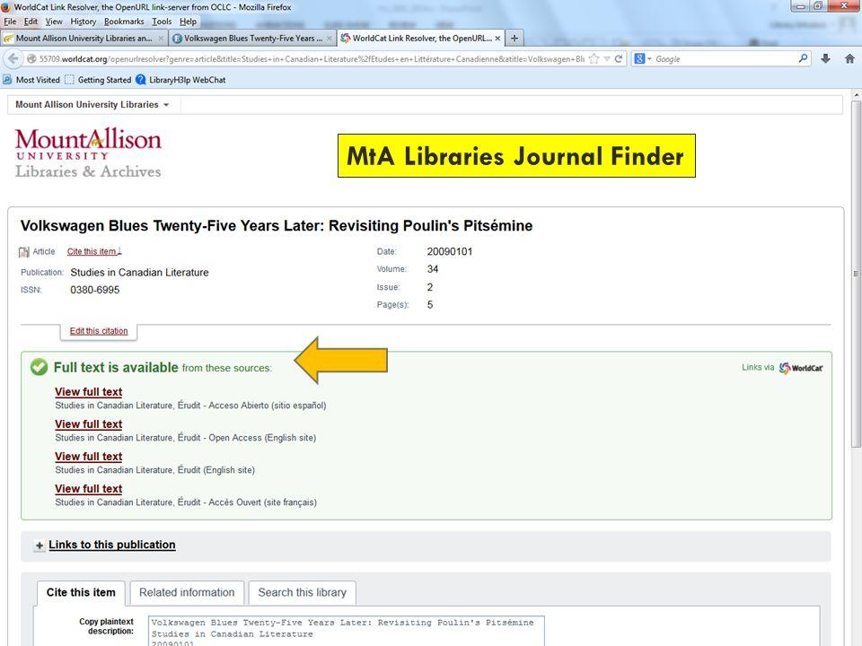 MtA Libraries Journal Finder