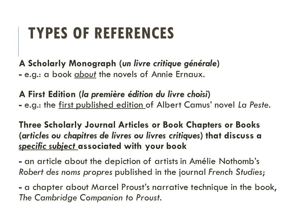 TYPES OF REFERENCES A Scholarly Monograph (un livre critique générale) - e.g.: a book about the novels of Annie Ernaux.