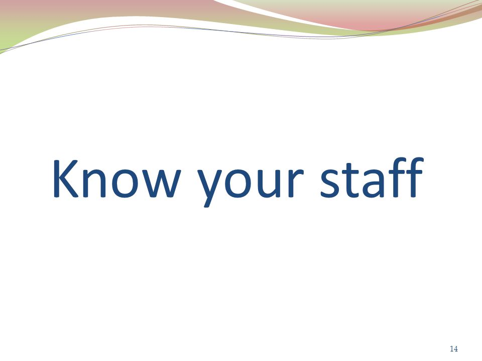 Know your staff 14