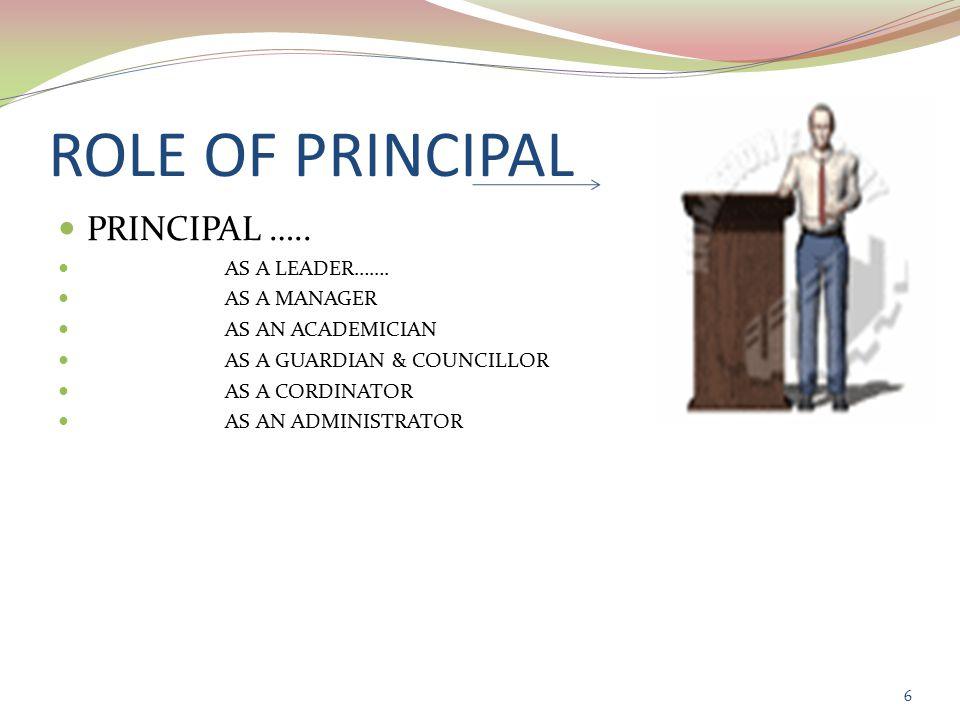 ROLE OF PRINCIPAL PRINCIPAL ….. AS A LEADER…….