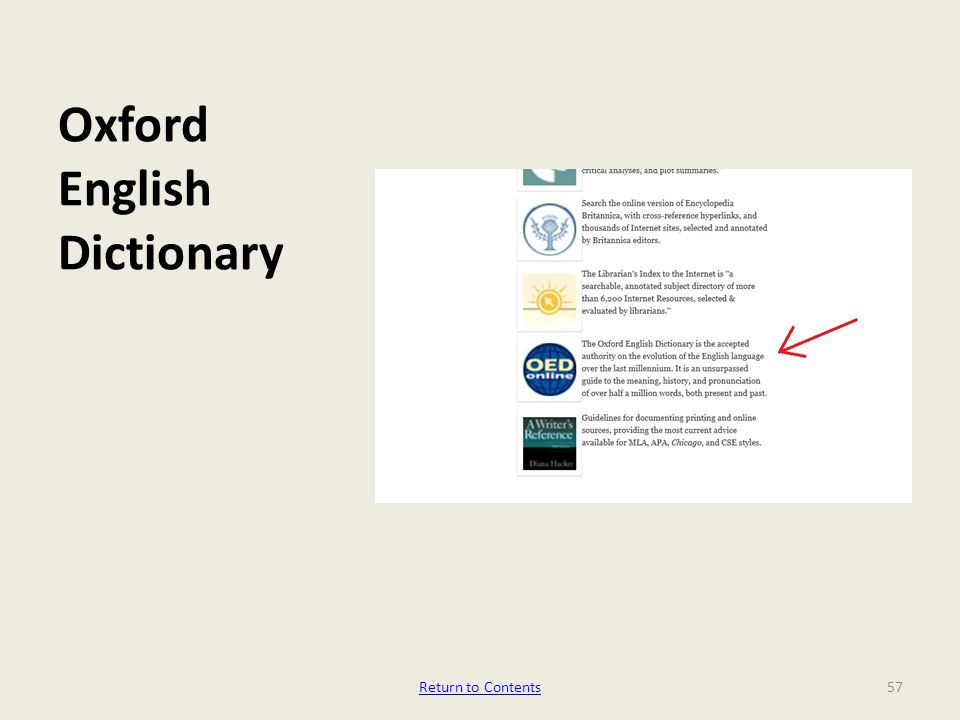 Oxford English Dictionary 57Return to Contents
